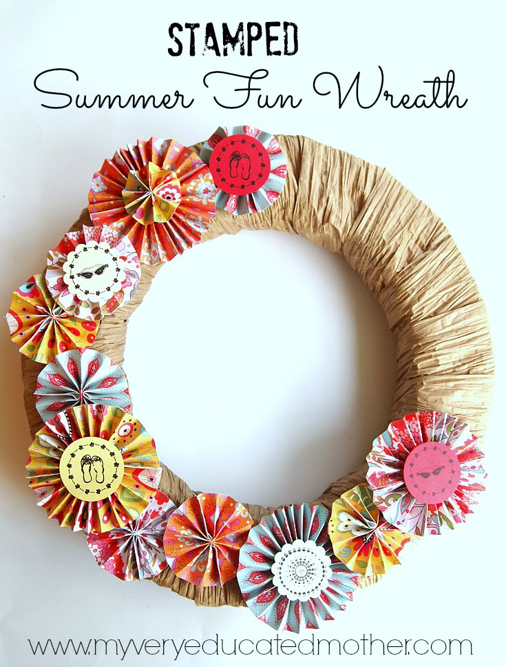 Make a quick, fun, stamped Summer Fun Wreath with PSA Essentials Peel & Stick Stamps.