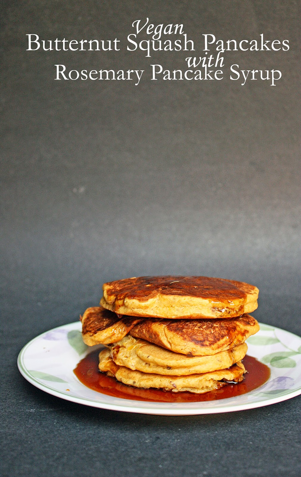 vegan butternut squash pancakes with rosemary syrup