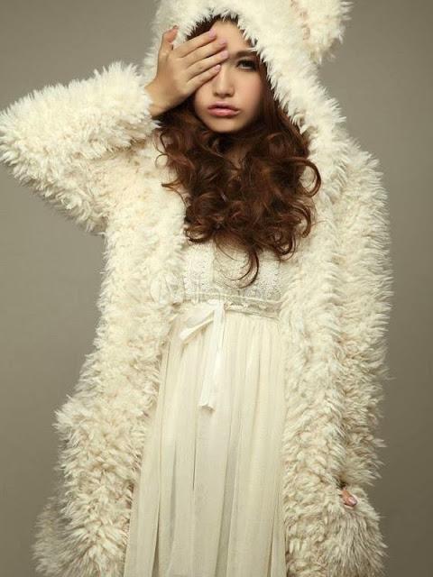 Cute Beige Bear Pattern Cotton Women's Coat