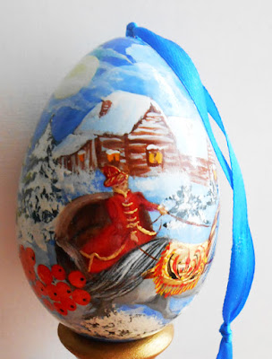 wooden  Egg Christmas  in russian winter