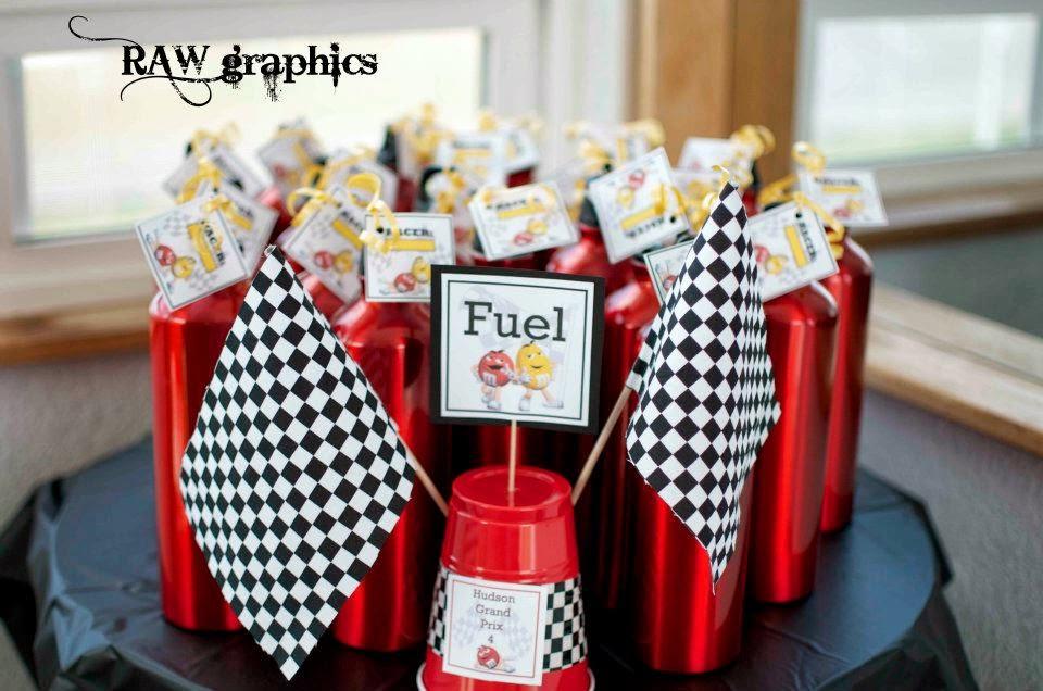 M&M racecar party favor water bottles
