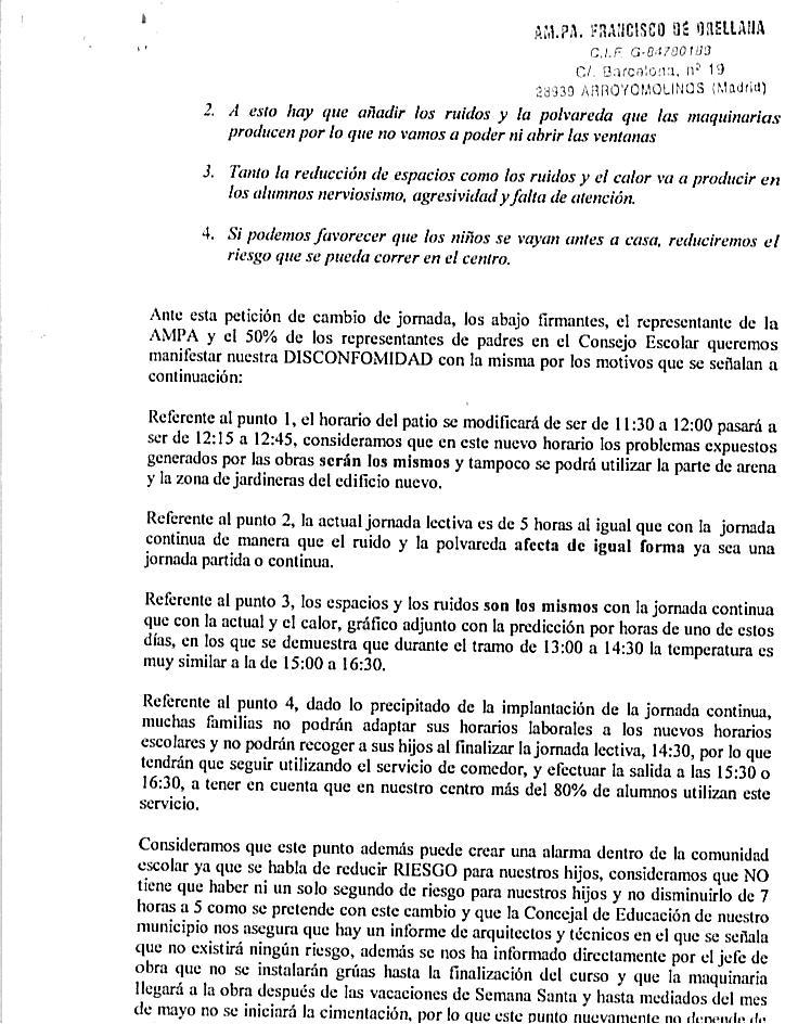 Ampa Colegio Francisco De Orellana Escrito Enviado A La