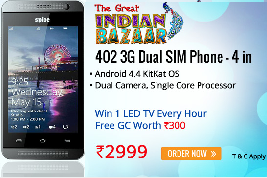 Buy Spice 402 ( 4″, 3G,1GHz, 3.2MP, 1.3 MP, Dual Sim) For Rs.3099 : BuyToEarn