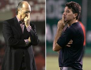 Renato Gaúcho e Falcão, treinadores de Grêmio e Internacional
