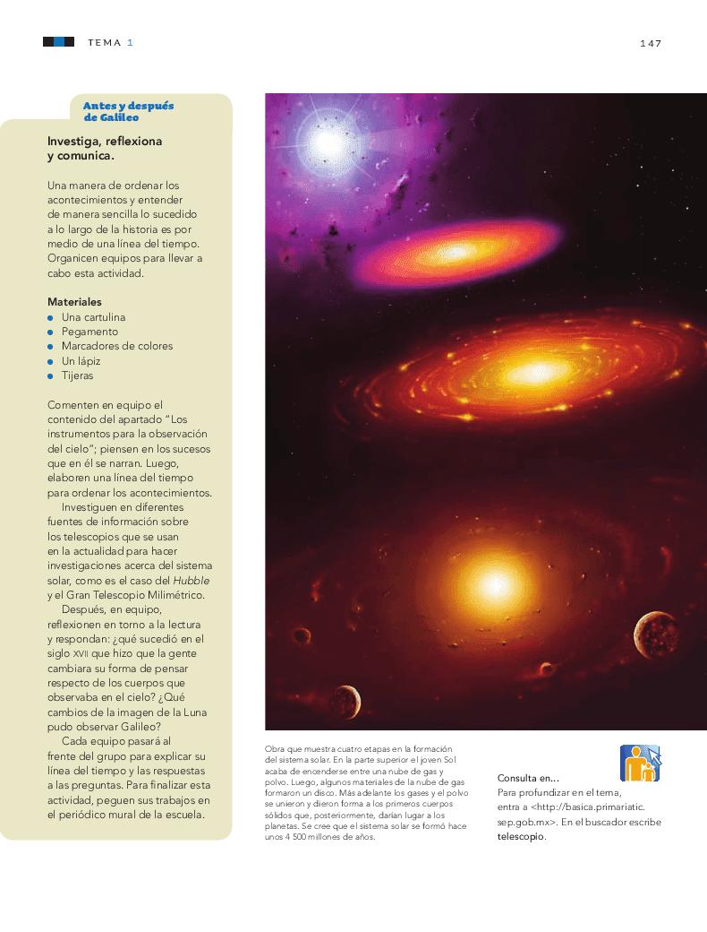Conocimiento de las características del Universo - Ciencias Naturales 6to Bloque 5 2014-2015