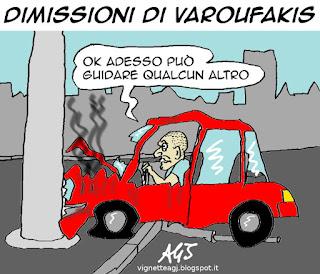 varoufakis, grexit, greferendum, grecia, satira vignetta