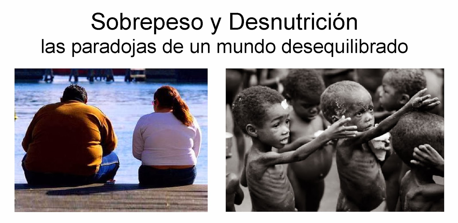 Imágenes comparando el sobrepeso y la desnutrición