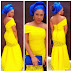 Creative Yellow Ankara Style With Blue Gele