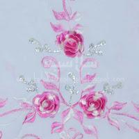 Telekung Vietnam pink muda sulam bunga timbul