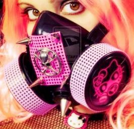 Goth girl wearing weird Hello Kitty gas mask