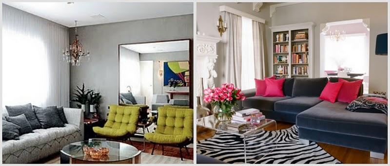Sala De Estar Sofa Cinza ~  dois ambientesGlamour e Glacê Casa Salas de Estar em Tons de Cinza