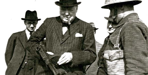 Winston Churchill at a shooting range at Rolston, near Hornsea.