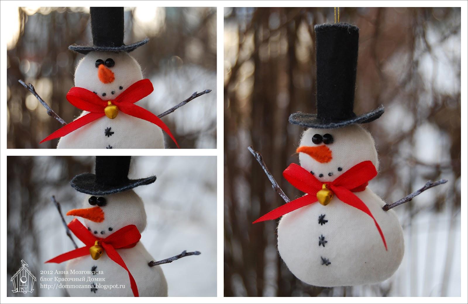 новогодняя игрушка снеговик из флиса
