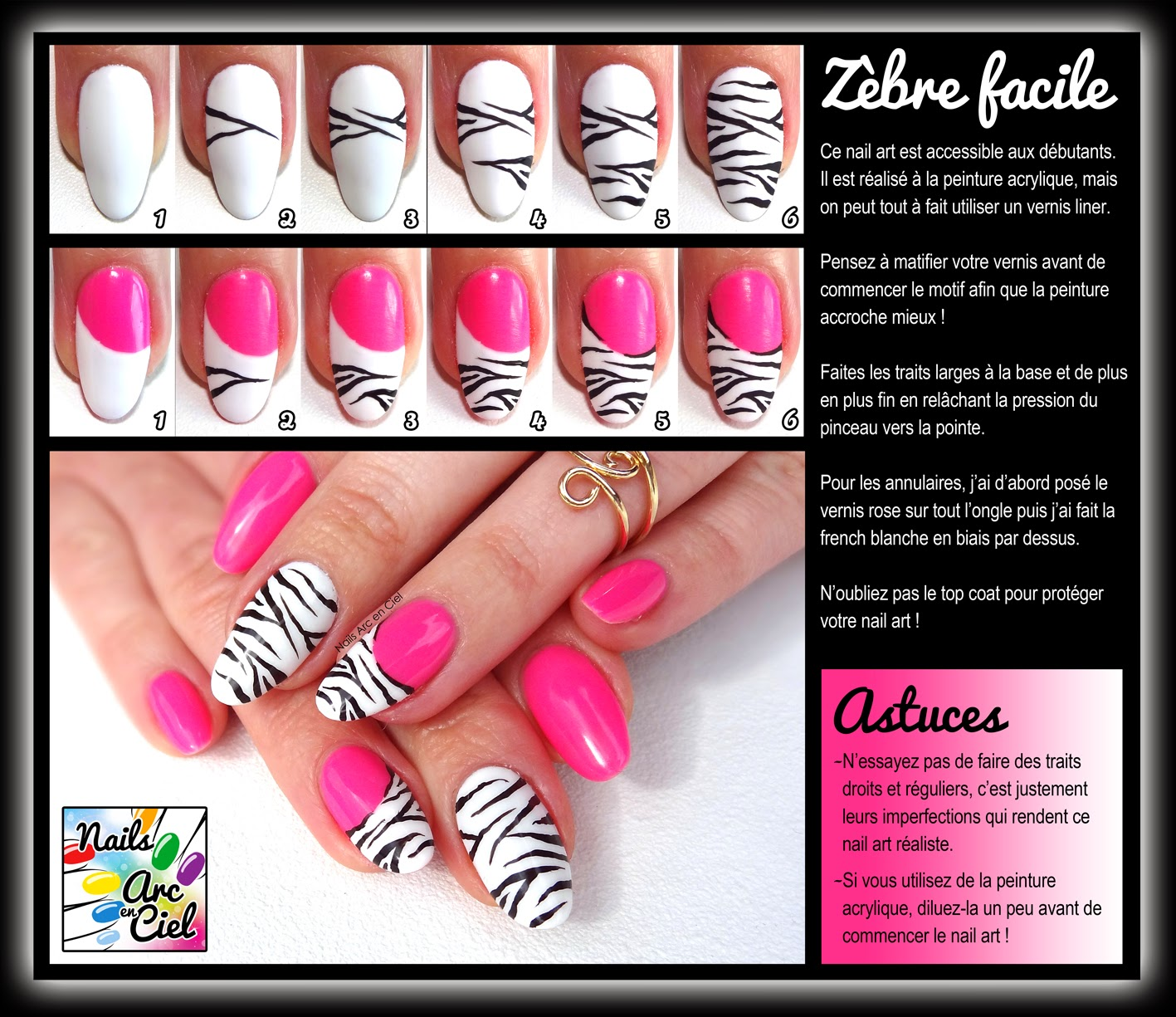 Nails arc en ciel tuto nail art z bre facile pour d butants - Nail art debutant ...