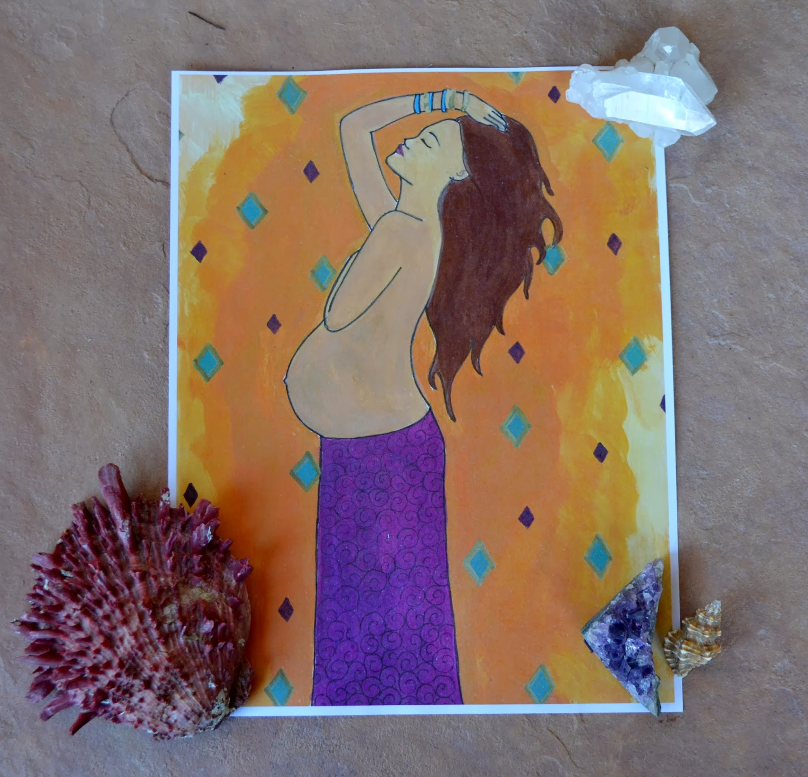 Gaia pregnant goddess print/ spiritysol