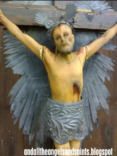FOLK CRUCIFIX. The Figure Of Christ, With Its Original Paint, Wears A Loin  Cloth And Tres Potencias Of Beaten Tin. The Kamagong Cross, Too, Features  Rays ...