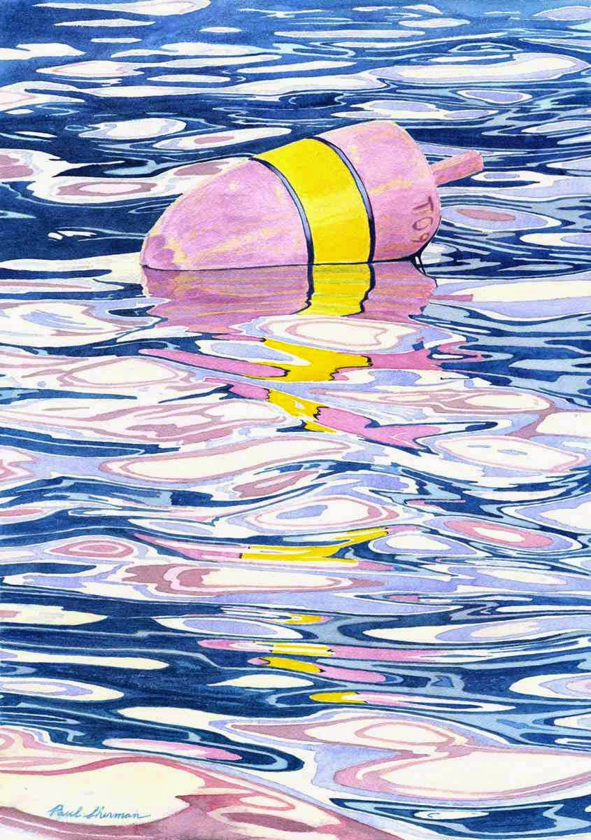 "Buoy In Cold Water - Watercolor 14"" x 20"""