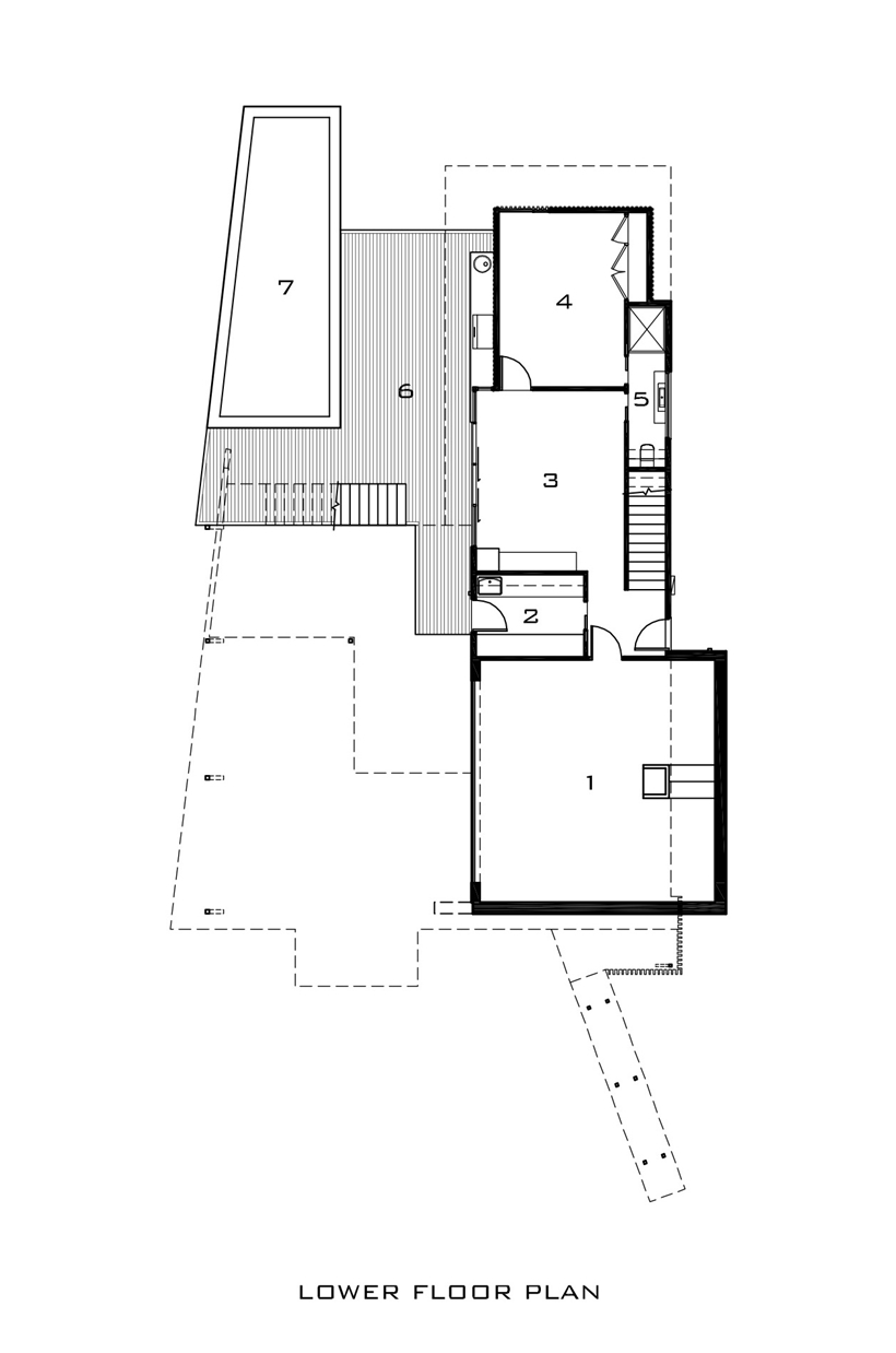 Lower floor plan of Kew House by Vibe Design Group