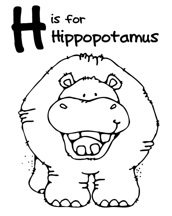 h is for hippo coloring pages - photo #3