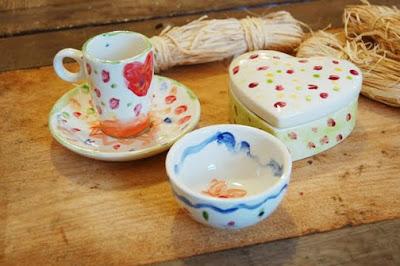 keramik selbst bemalen im eigenlob:tasse, schale und herzdose