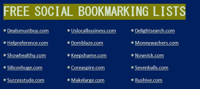 Free Social Bookmarking List 2015