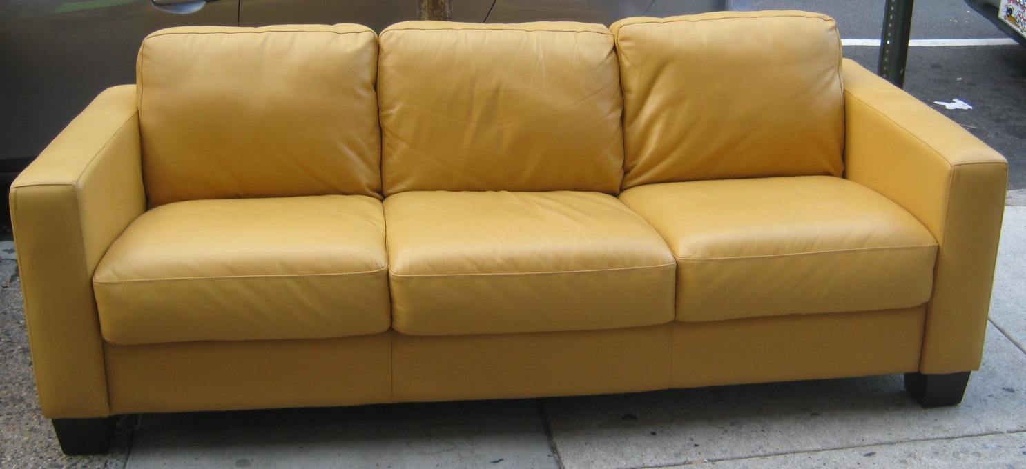 Uhuru furniture collectibles leather yellow couch sold for Yellow leather sofa bed