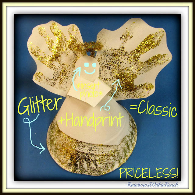 Classic Christmas Angel: Handprint, Glitter and a Paper Plate! via RainbowsWithinReach