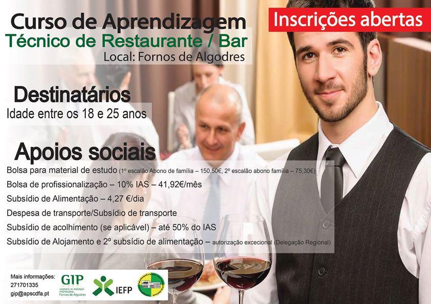 Curso financiado de Restaurante/Bar em Fornos de Algodres (Equivalência 12º ano)