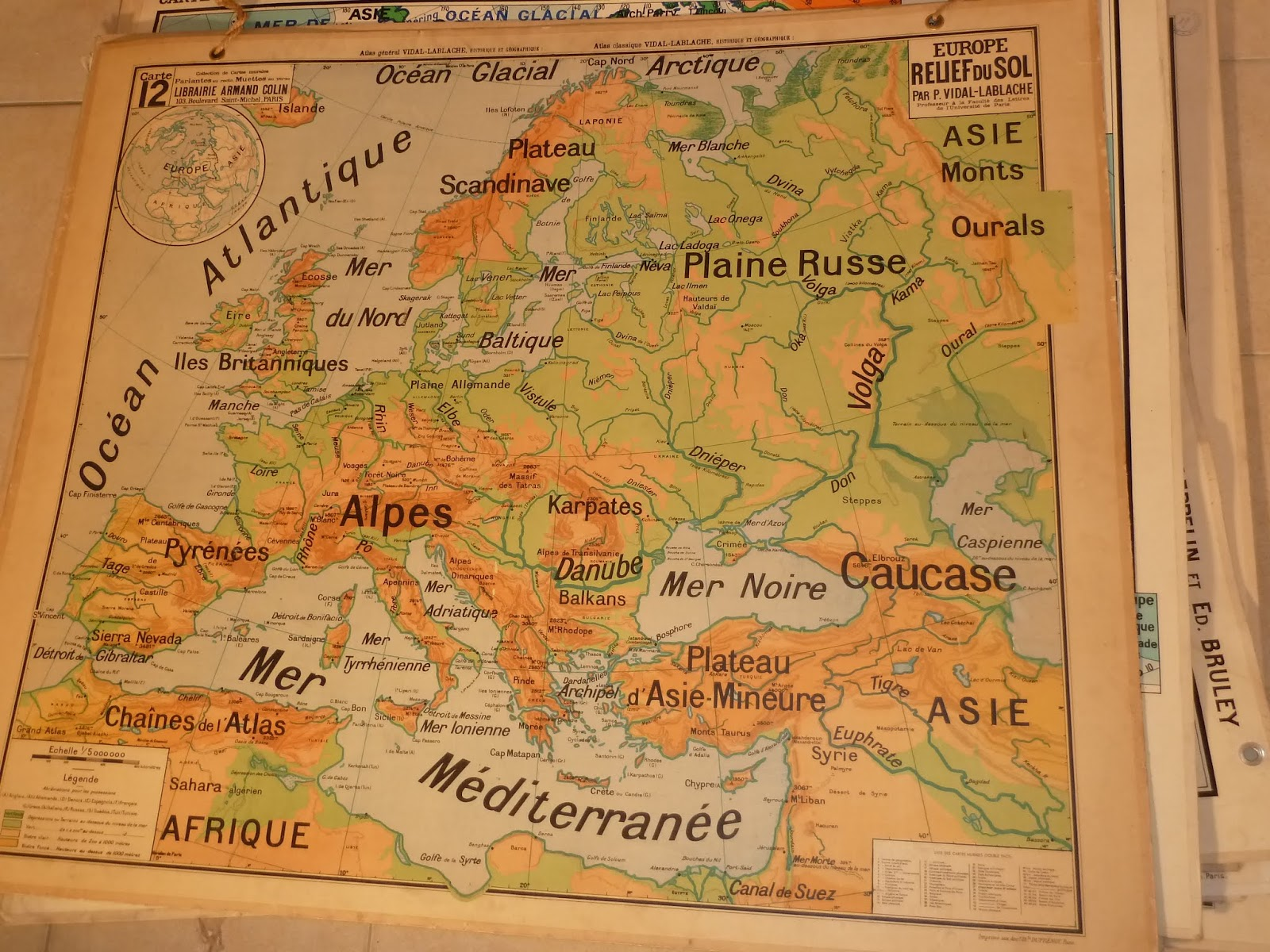 antique french map about relief of europe