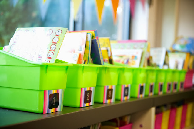 rainbow labels on book boxes for read to self