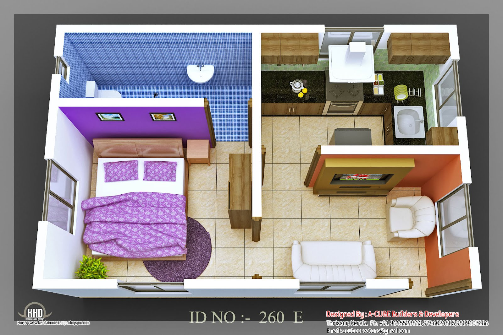 3d isometric views of small house plans kerala home for Home map design free layout plan in india
