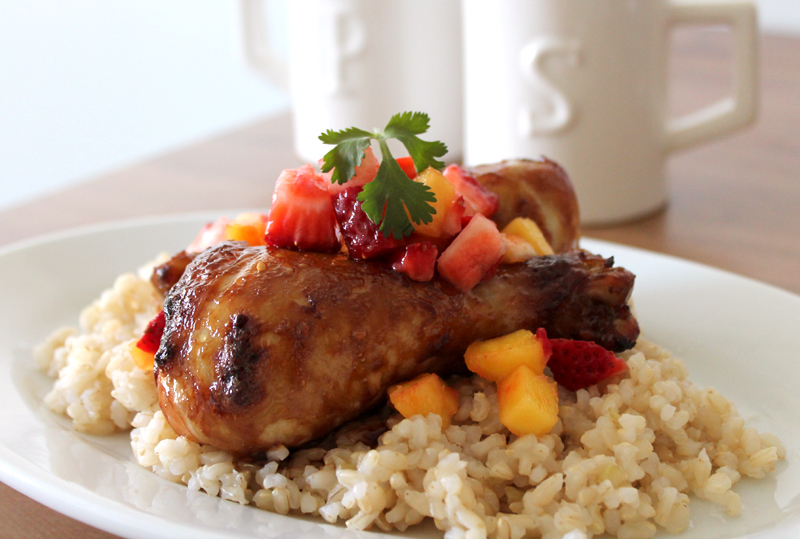 TreiyakiDrumsticks 2 teriyaki drumsticks with strawberry mango salsa