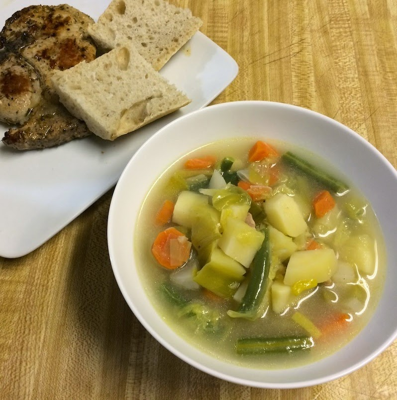 Potage Cultivateur with Pork chops