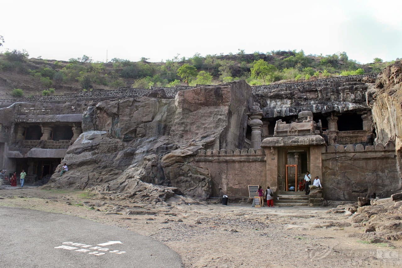 Cave 32 entrance with Dravidian gopura