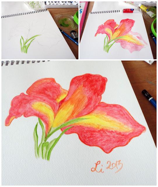 Art Li and Stuff - Canna flower watercolour painting WIP