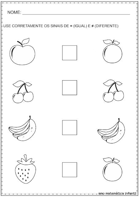 Sinais Matemáticos Igual e Diferente Atividades