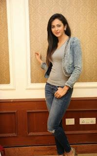 Actress Rakul Preet Singh Pictures in Jeans at Rough Movie Success Meet  33.jpg