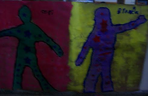 Ceci y Bianca , pintura sus figuras en tamaño natural!!