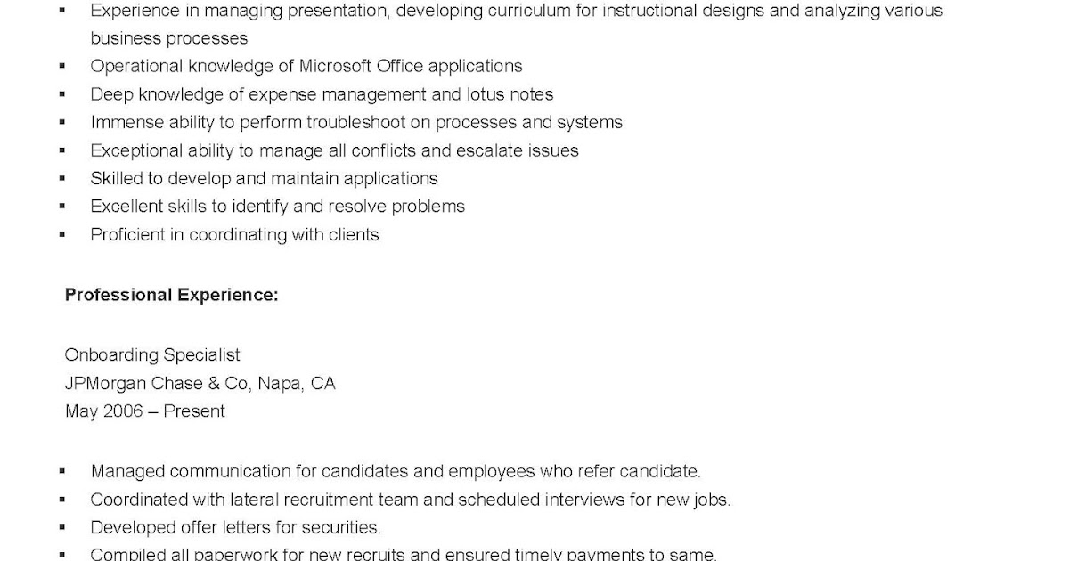 resume samples sample onboarding specialist resume