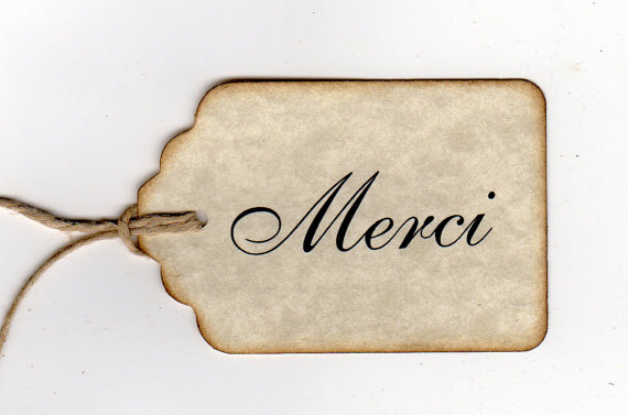 Wedding Gift Thank You Tags : Creative Chatter: Thank You Merci Gift Tags Wedding Favor Tags