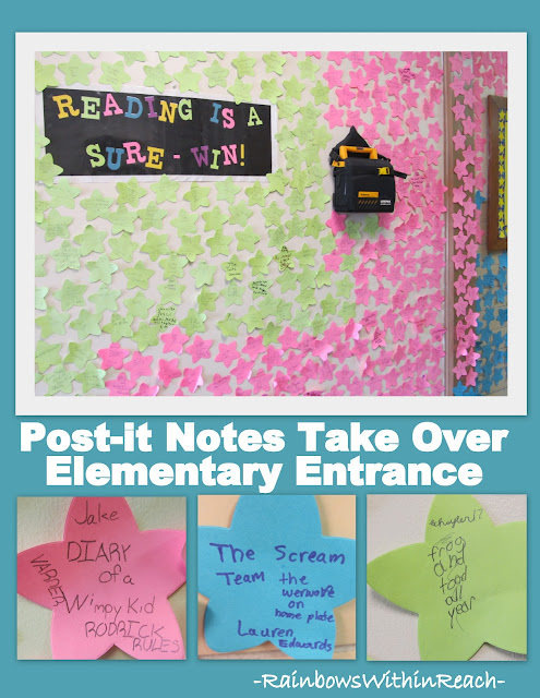 photo of: Bulletin Board of Elementary Reading Celebration on Post-it-notes