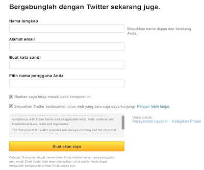 cara mendaftar Account Twitter
