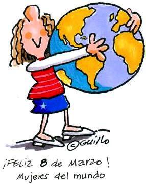 Imagen del Día Internacional de la Mujer. (Mujer abrazando el planeta tierra)