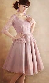 Vintage Pale Pink Three Quarter Sleeve Mixed Lace and Chiffon Midi Dress