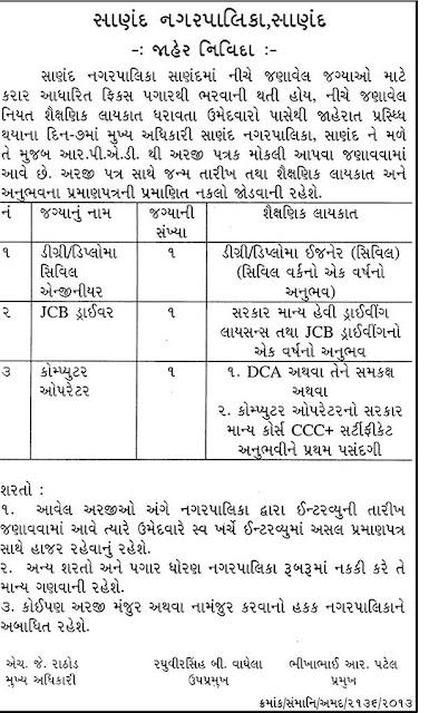 Sanand Nagarpalika Job