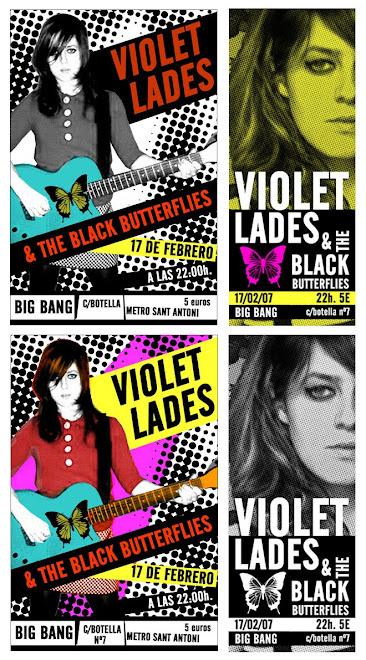 Flyers para el concierto de Violet Lades 2008