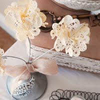 Tea Stained Paper Flower Doilies