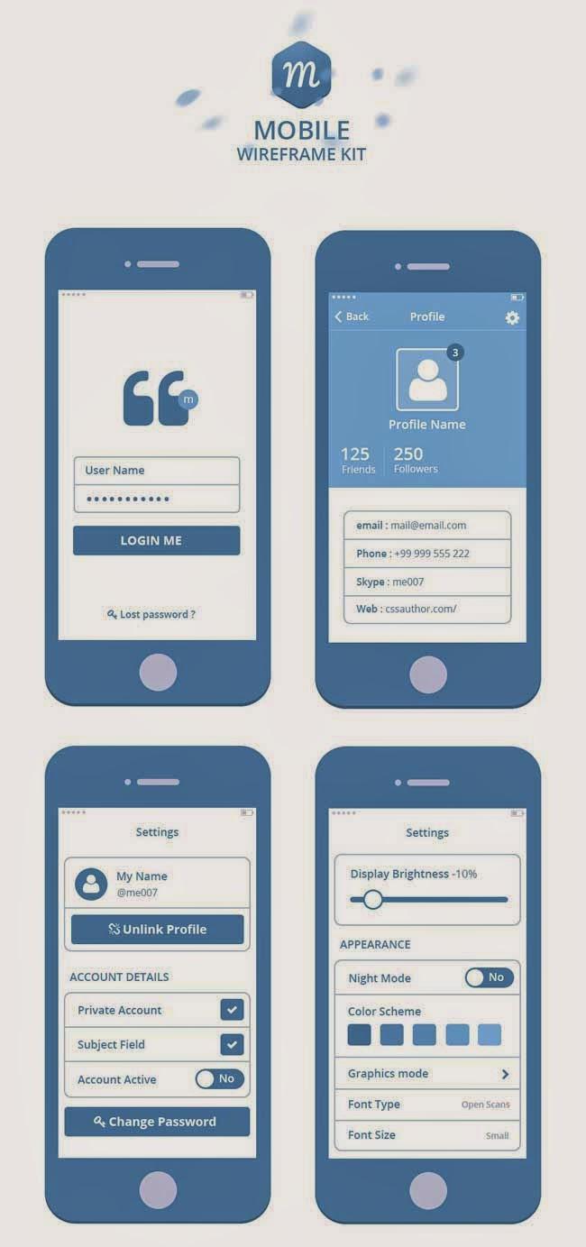 Mobile Wireframe Kit PSD