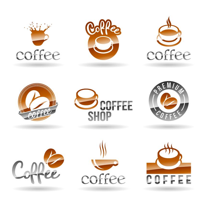 珈琲カップ ロゴ見本 coffee cup graphics design logo イラスト素材