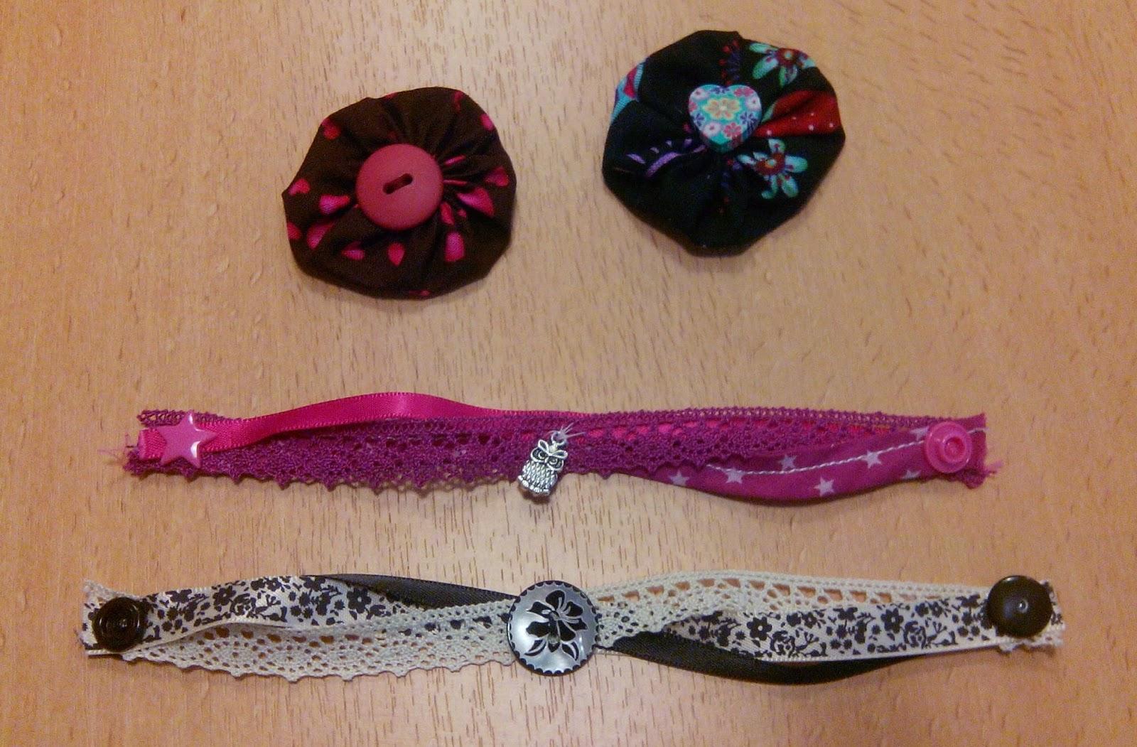 Couture en atelier bracelet rose et noir